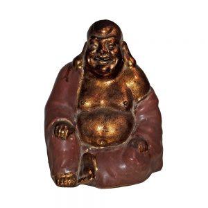 Buddha Che Ride Pu-Tai - Terracotta Invetriata